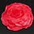 Large Pink Red Fabric Rose Brooch - view 2