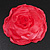 Large Pink Red Fabric Rose Brooch - view 8