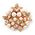White Faux Imitation Pearl Crystal Scarf Pin/ Brooch In Gold Plated Metal - view 3