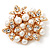 White Faux Imitation Pearl Crystal Scarf Pin/ Brooch In Gold Plated Metal - view 7