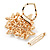 White Faux Imitation Pearl Crystal Scarf Pin/ Brooch In Gold Plated Metal - view 4