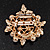 White Faux Imitation Pearl Crystal Scarf Pin/ Brooch In Gold Plated Metal - view 2