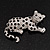 Swarovski Crystal Leopard Brooch (Silver Plated Finish) - view 4