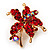 Tiny Red Crystal Daisy Floral Pin In Gold Plated Metal
