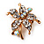 Tiny Clear Crystal Daisy Floral Pin In Gold Plated Metal - view 2