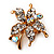 Tiny Clear Crystal Daisy Floral Pin In Gold Plated Metal - view 4