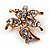 Tiny Clear Crystal Daisy Floral Pin In Gold Plated Metal - view 3