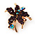 Tiny Deep Purple Crystal Daisy Floral Pin In Gold Plated Metal - view 4