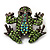 Small Green Diamante Frog Brooch In Gun Metal Finish - 3cm Length - view 2