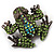 Small Green Diamante Frog Brooch In Gun Metal Finish - 3cm Length