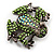 Small Green Diamante Frog Brooch In Gun Metal Finish - 3cm Length - view 4