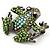 Small Green Diamante Frog Brooch In Gun Metal Finish - 3cm Length - view 5