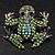 Small Green Diamante Frog Brooch In Gun Metal Finish - 3cm Length - view 3