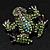 Small Green Diamante Frog Brooch In Gun Metal Finish - 3cm Length - view 7