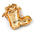 Christmas Stocking Brooch In Gold Plated Metal - 40mm L - view 4