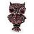 Gun Metal Purple Crystal Owl Brooch