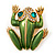 Large Bright Green Enamel Swarovski Crystal 'Frog' Brooch In Gold Plated Metal - 4.5cm Length - view 2