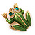 Large Bright Green Enamel Swarovski Crystal 'Frog' Brooch In Gold Plated Metal - 4.5cm Length - view 10
