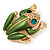 Large Bright Green Enamel Swarovski Crystal 'Frog' Brooch In Gold Plated Metal - 4.5cm Length - view 12