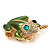 Large Bright Green Enamel Swarovski Crystal 'Frog' Brooch In Gold Plated Metal - 4.5cm Length - view 9