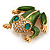 Large Bright Green Enamel Swarovski Crystal 'Frog' Brooch In Gold Plated Metal - 4.5cm Length - view 7