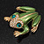 Large Bright Green Enamel Swarovski Crystal 'Frog' Brooch In Gold Plated Metal - 4.5cm Length - view 8