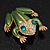 Large Bright Green Enamel Swarovski Crystal 'Frog' Brooch In Gold Plated Metal - 4.5cm Length - view 4