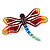 Multicoloured Austrian Crystal 'Dragonfly' Brooch In Silver Plated Metal