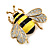 Yellow/Black Enamel Bee Brooch In Gold Plated Metal - 4cm Length - view 3