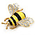 Yellow/Black Enamel Bee Brooch In Gold Plated Metal - 4cm Length - view 7