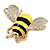 Yellow/Black Enamel Bee Brooch In Gold Plated Metal - 4cm Length - view 8