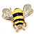 Yellow/Black Enamel Bee Brooch In Gold Plated Metal - 4cm Length - view 5