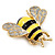 Yellow/Black Enamel Bee Brooch In Gold Plated Metal - 4cm Length - view 9