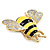 Yellow/Black Enamel Bee Brooch In Gold Plated Metal - 4cm Length - view 10