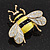 Yellow/Black Enamel Bee Brooch In Gold Plated Metal - 4cm Length - view 4