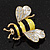 Yellow/Black Enamel Bee Brooch In Gold Plated Metal - 4cm Length - view 11