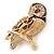 Brown Crystal Owl Brooch In Gold Plated Metal - view 2