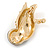 Brown Crystal Owl Brooch In Gold Plated Metal - view 3