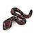 Black/ Red Austrian Crystal Snake Brooch In Gun Metal Finish
