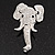 Swarovski Crystal 'Elephant Head' Brooch In Rhodium Plated Metal