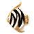 Black/White Enamel 'Fish' Brooch In Gold Plated Metal
