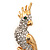 Gold Plated Clear Austrian Crystal Parrot Bird Brooch - 50mm L - view 3