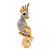 Gold Plated Clear Austrian Crystal Parrot Bird Brooch - 50mm L - view 4