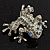 Swarovski Crystal 'Frog' Brooch In Rhodium Plated Metal (Light Green/ Grey) - view 9