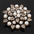 Bridal White Faux Pearl Floral Brooch In Antique Gold Plating - 5.5cm Diameter - view 2