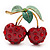 Large Diamante Enamel 'Double Cherry' Brooch In Gold Plated Metal - 5cm Length