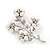 White Faux Pearl Floral Brooch In Silver Tone Metal - 6cm Length - view 6