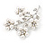 White Faux Pearl Floral Brooch In Silver Tone Metal - 6cm Length - view 4