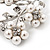 White Faux Pearl Floral Brooch In Silver Tone Metal - 6cm Length - view 7