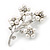 White Faux Pearl Floral Brooch In Silver Tone Metal - 6cm Length - view 3